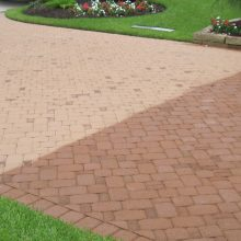 Wetlook 6 Brick Driveway half treated contrast